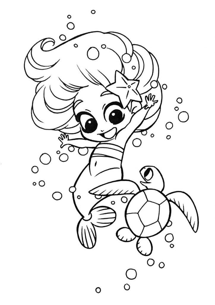 ภาพระบายสีเจ้าหญิงเงือกน้อยกับเต่าทะเล