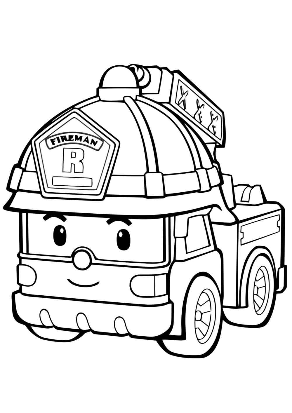 ระบายสีรถยนต์ การ์ตูนน่ารักรถดับเพลิง